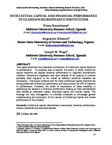 intellectual capital and financial performance in uganda's microfinance ...