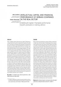 intellectual capital and financial performance of serbian companies in ...