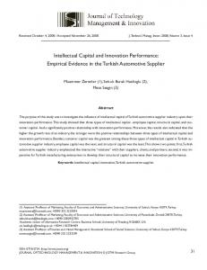 Intellectual Capital and Innovation Performance: Empirical ... - SciELO