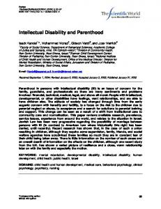 Intellectual Disability and Parenthood - Hindawi