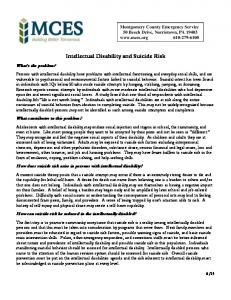 Intellectual Disability and Suicide - MontcoCares