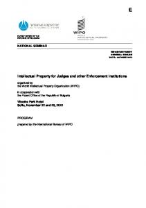 Intellectual Property for Judges and other Enforcement ... - WIPO