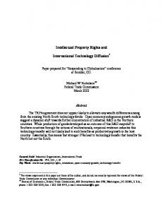 Intellectual Property Rights and International Technology Diffusion*