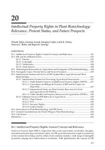 Intellectual Property Rights in Plant Biotechnology