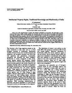 Intellectual Property Rights, Traditional Knowledge and ... - NOPR