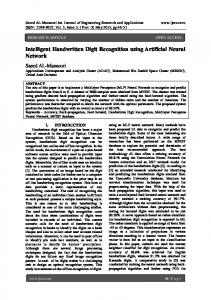Intelligent Handwritten Digit Recognition using Artificial Neural ...