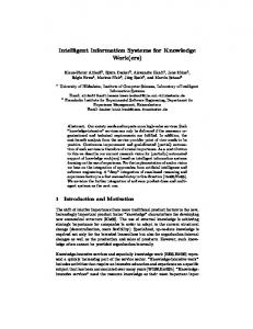 Intelligent Information Systems for Knowledge ... - Semantic Scholar