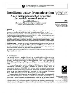 Intelligent water drops algorithm - Semantic Scholar