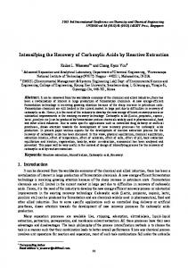 Intensifying the Recovery of Carboxylic Acids by