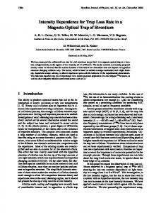 Intensity Dependence for Trap Loss Rate in a ... - Semantic Scholar