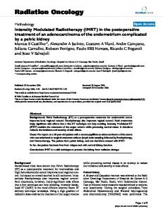 Intensity Modulated Radiotherapy (IMRT) in the postoperative ...