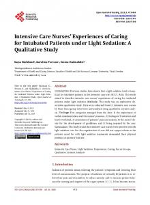 Intensive Care Nurses' Experiences of Caring for Intubated Patients