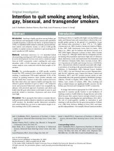 Intention to quit smoking among lesbian, gay ... - Oxford Academic
