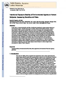 Intentional Exposure Studies of Environmental Agents on Human ...