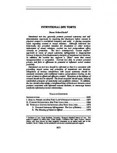 intentional sex torts - Fordham Law Review