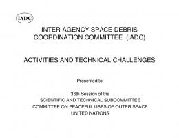 INTER-AGENCY SPACE DEBRIS COORDINATION COMMITTEE ...