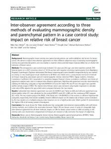 Inter-observer agreement according to three methods of evaluating ...