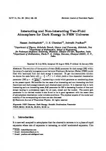 Interacting and Non-interacting Two-Fluid Atmosphere for Dark Energy ...
