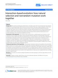 Interaction-based evolution: how natural selection and ... - CyberLeninka