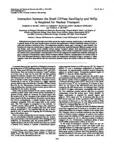 Interaction between the Small GTPase Ran/Gsp1p and Ntf2p Is ...