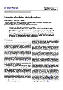 Interaction of exploding dissipative solitons - Springer Link