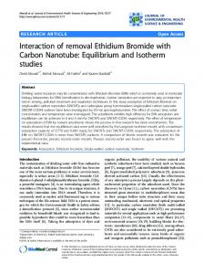 Interaction of removal Ethidium Bromide with Carbon ... - Springer Link