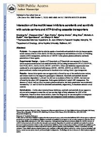 Interaction of the multikinase inhibitors sorafenib and sunitinib with ...