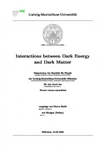 Interactions between Dark Matter and Dark Energy - International Max ...