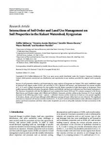 Interactions of Soil Order and Land Use Management on Soil ...