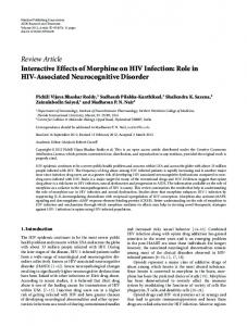 Interactive Effects of Morphine on HIV Infection: Role in HIV ...