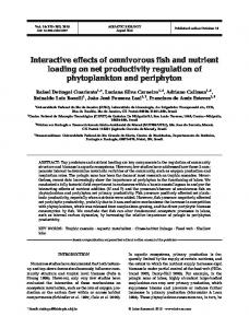 Interactive effects of omnivorous fish and nutrient ... - Inter Research