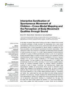 Interactive Sonification of Spontaneous Movement