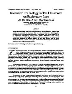 Interactive Technology in the Classroom - Eric