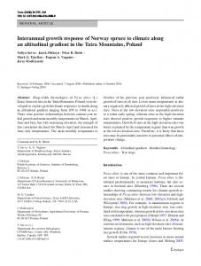 Interannual growth response of Norway spruce to ... - Springer Link