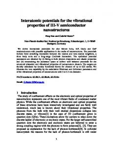 Interatomic potentials for the vibrational properties of III-V ... - arXiv