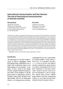Intercultural communication and the Internet. The role of intercultural ...