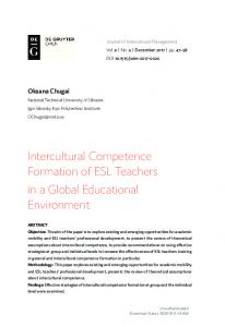 Intercultural Competence Formation of ESL Teachers ...