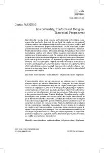 Interculturality, Conflicts and Religion: Theoretical
