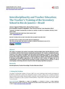 Interdisciplinarity and Teacher Education - Scientific Research