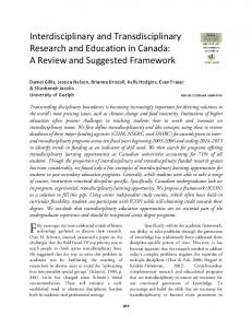 Interdisciplinary and Transdisciplinary Research and Education in ...