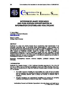 interdisciplinary research and publication opportunities in information ...
