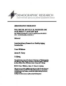 Interdisciplinary Research on Healthy Aging: Introduction