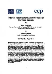 Interest Rate Clustering in UK Financial Services Markets - Centre for ...