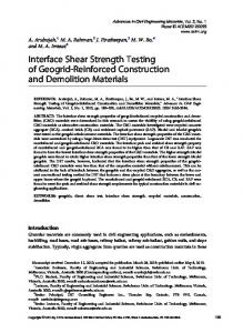 Interface Shear Strength Testing of Geogrid ...