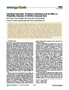 Interfacial Interaction of Cationic Surfactants and Its Effect on ...