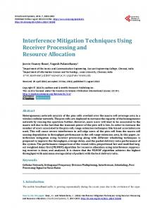 Interference Mitigation Techniques Using Receiver Processing and ...