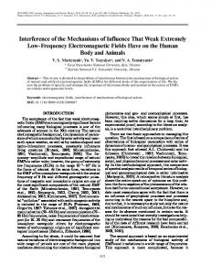 Interference of the Mechanisms of Influence That Weak Extremely Low ...