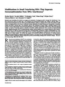 Interference Separate Immunostimulation from RNA Modifications in ...