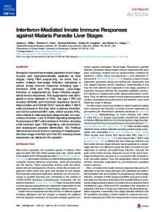 Interferon-Mediated Innate Immune Responses against Malaria ...