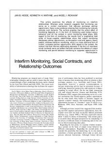 Interfirm Monitoring, Social Contracts, and Relationship Outcomes